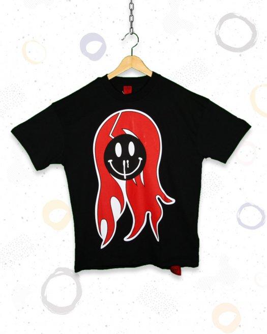 Sümüklü Hayalet Baskılı Siyah Oversize Tişört