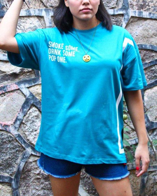 Sırt Baskılı Turkuaz Oversize Tişört