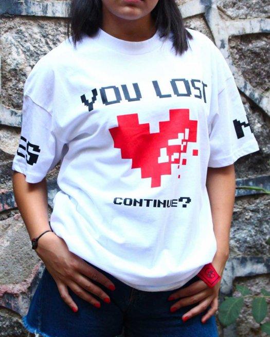 You Lost Oversize Beyaz Tişört