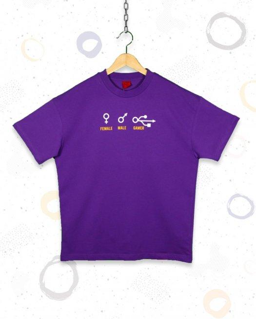 Gamer Baskılı  Oyuncu Oversize Mor Tişört