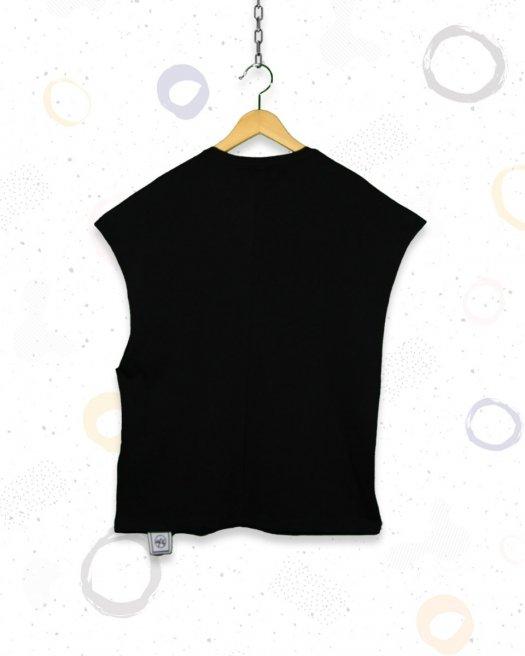 Batik Baskılı Kolsuz Oversize Siyah Tişört