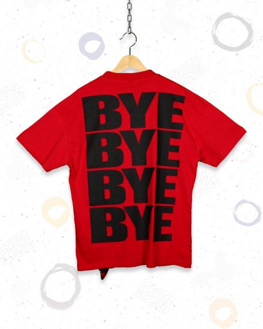Kırmızı Oversize Tişört Hi-Bye Baskılı