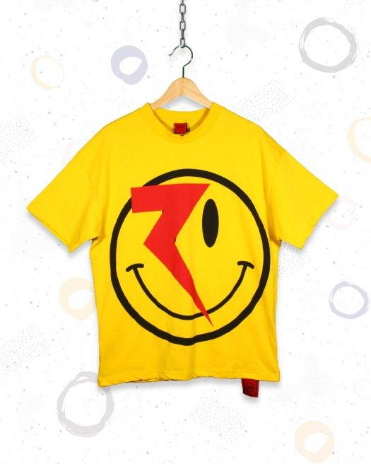 Baskılı Sarı Oversize Tişört Şimşek Surat