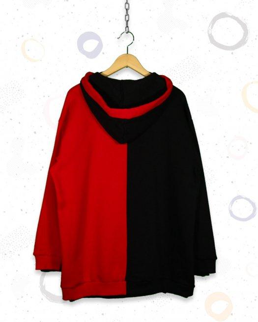 Badgirl Kapşonlu Kırmızı Siyah Sweatshirt