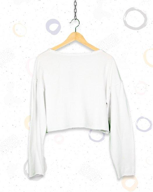 Beyaz Kısa Crop Sweatshirt