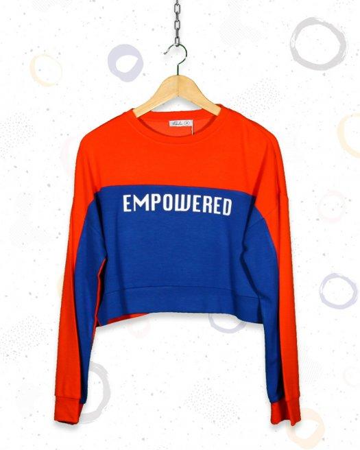 Turuncu Crop Kısa Sweatshirt