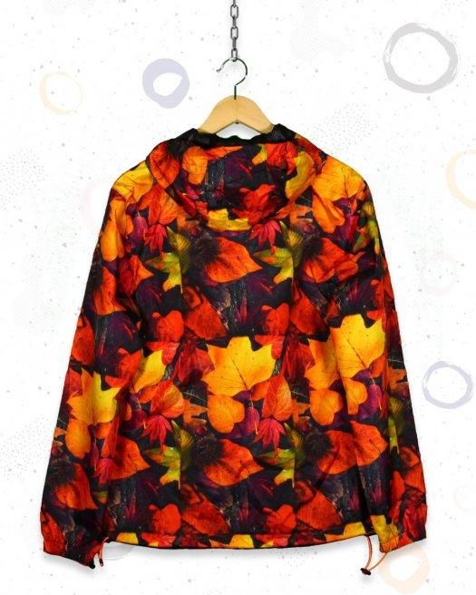 Sonbahar Yaprak Desenli Yağmurluk