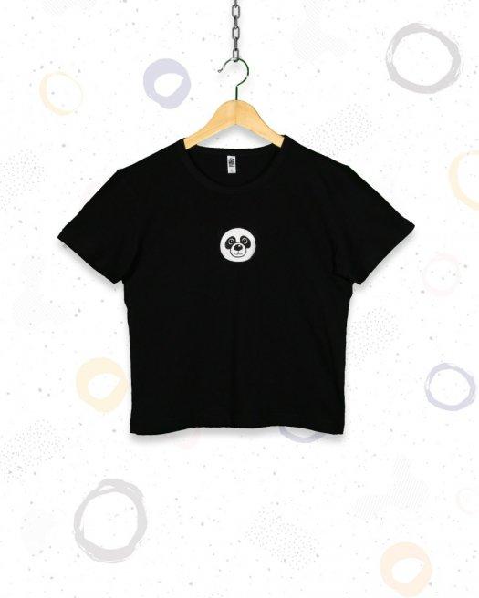 Panda Nakışlı Siyah Kısa Crop Tişört