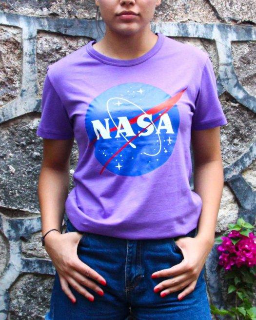 NASA Baskılı Mor Tişört