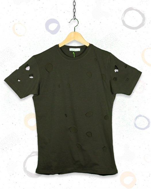 Lazer Kesim Haki Yeşil Tişört
