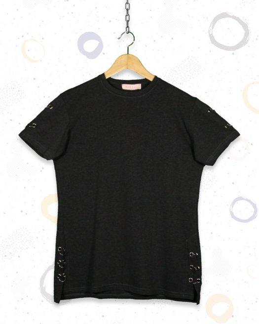 Halka Detaylı Gri Melanj Tişört