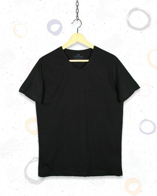 V Yaka Basic Siyah Tişört
