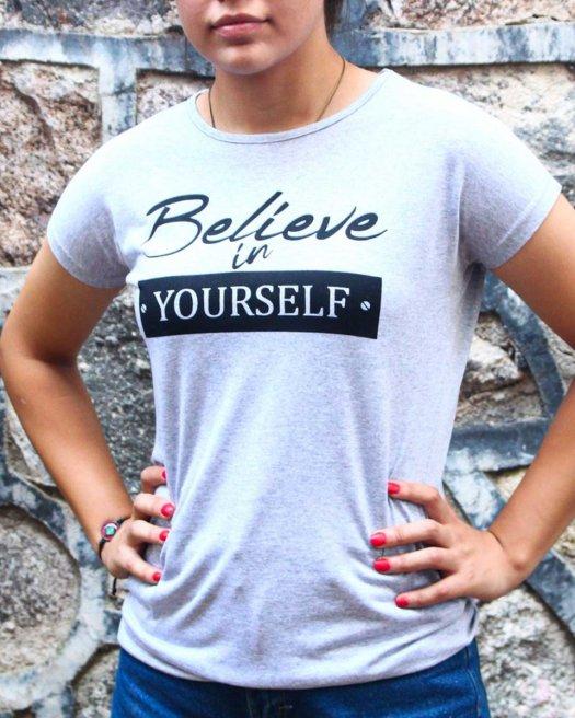 Believe Baskılı Gri Melanj Tişört Kadın