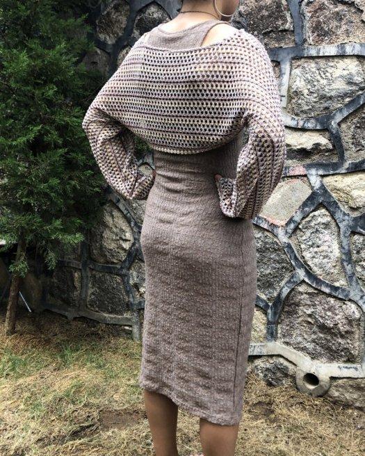 Bolerolu Sütlü Kahverengi Triko Elbise