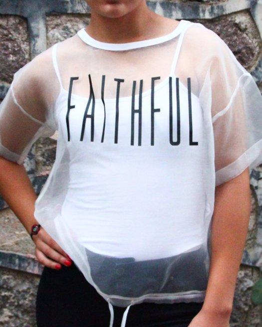 Baskılı Transparan Beyaz Bluz Oversize