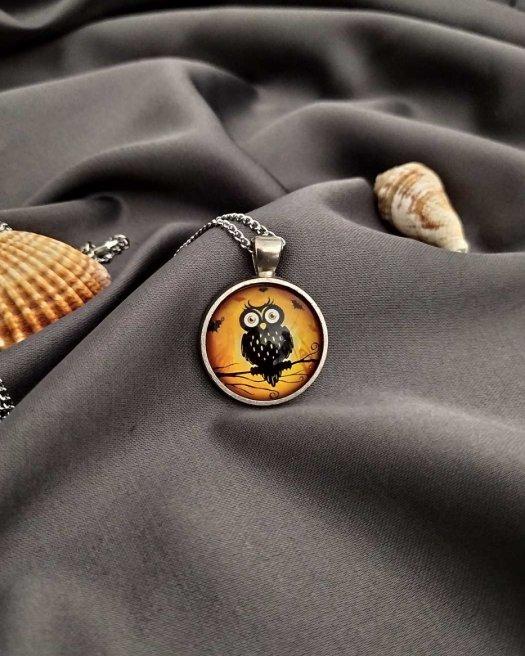 Baykuş Madalyon Kolye