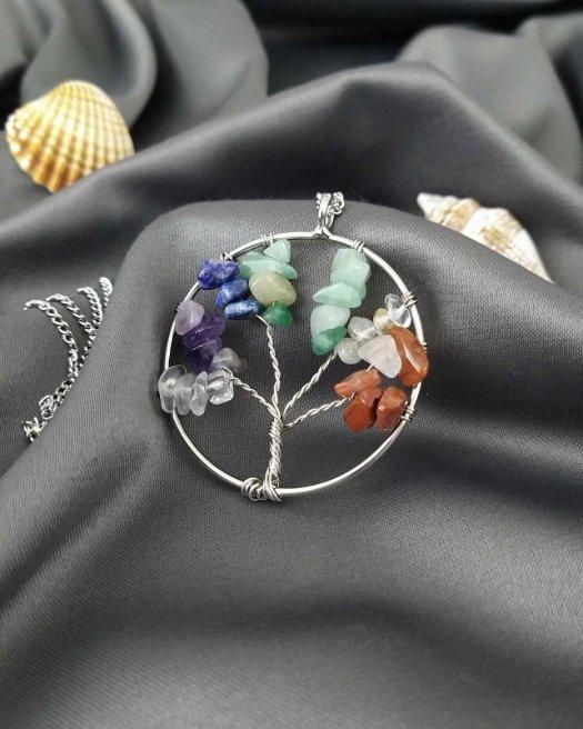 Doğaltaşlı Hayat Ağacı Kolye