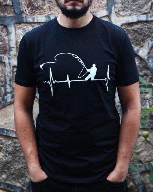 Balıkçı Baskılı Siyah Tişört