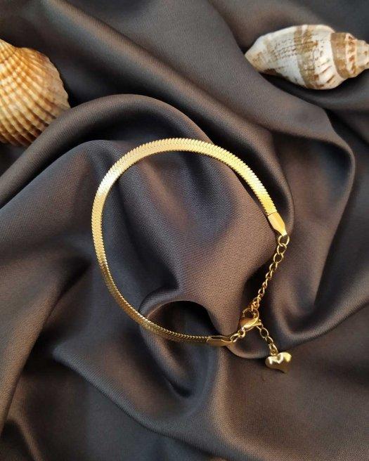 Balıksırtı Altın Renk İtalyan Çelik Bileklik
