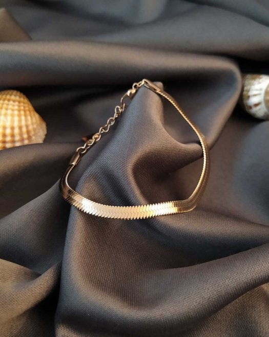 Balıksırtı Bronz Renk İtalyan Çelik Bileklik