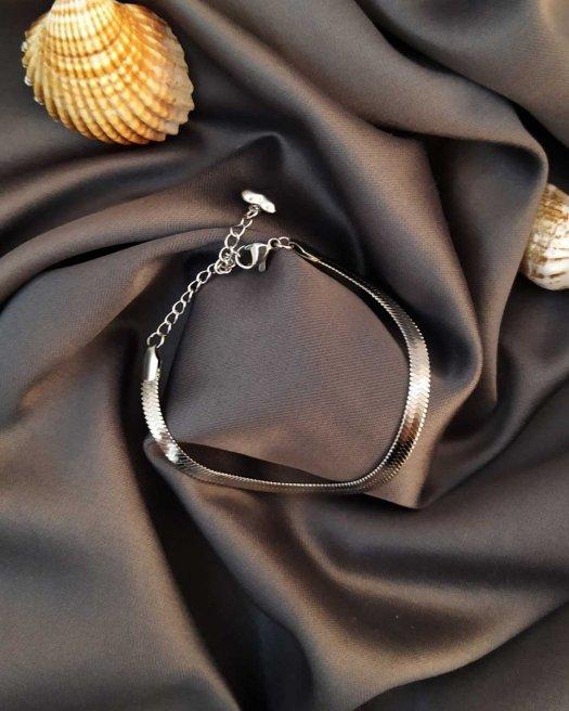 Balıksırtı Gümüş Renk İtalyan Çelik Bileklik