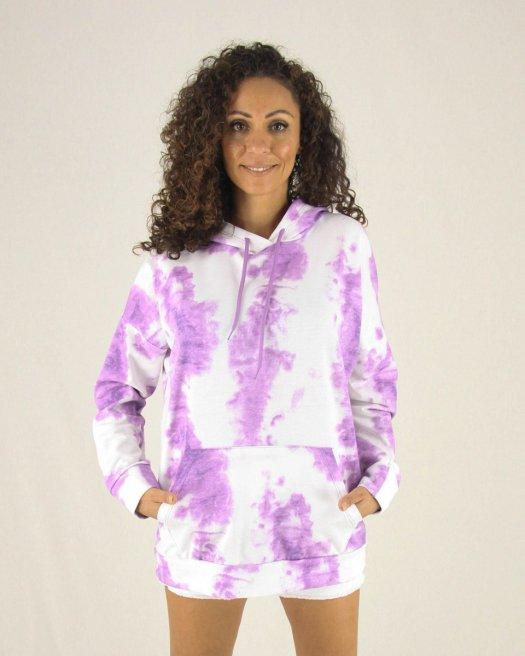 Lila Batik Baskılı Kapşonlu Sweatshirt