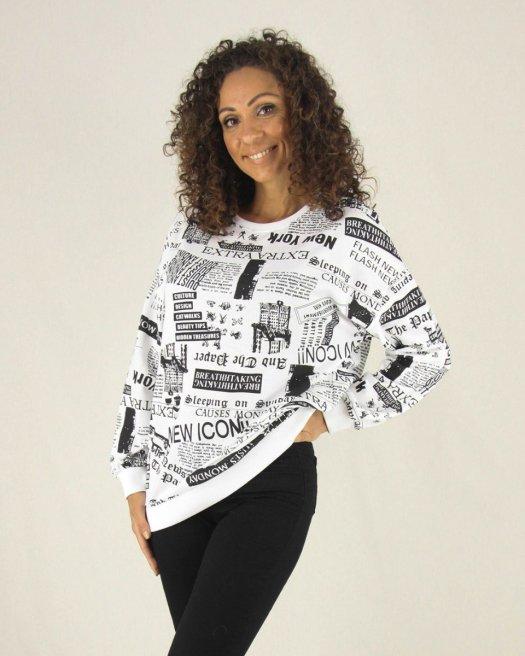 Gazete Baskılı Kadın Beyaz Sweatshirt