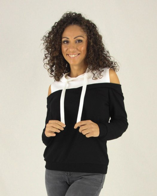 Omzu Açık Kapşonlu Kadın Siyah Bluz