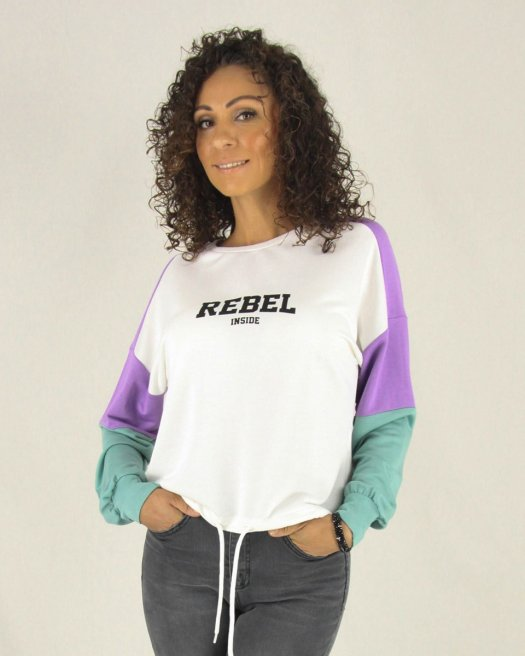 Rebel Baskılı Ekru Kısa Sweatshirt