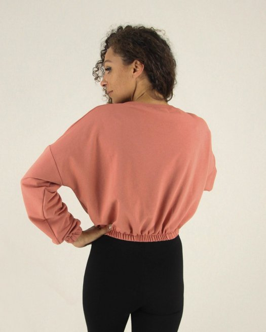 Baskılı Cep Detaylı Kısa Gül Kurusu Sweatshirt