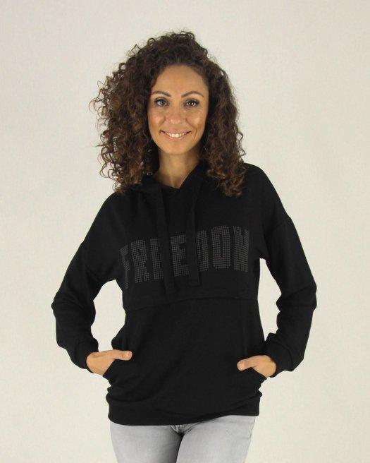 Freedom Boncuk Baskılı Kapşonlu Siyah Sweatshirt