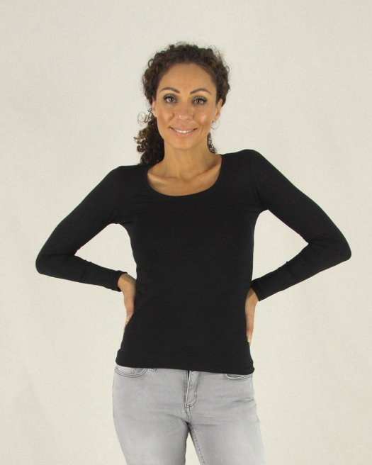 Geniş Yuvarlak Yaka Uzun Kollu Siyah Bluz