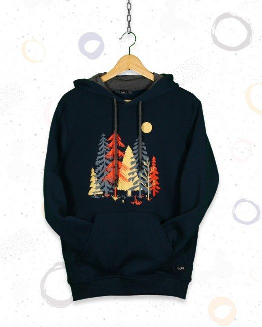 Kapşonlu Renkli Ağaç Baskılı Petrol Sweatshirt