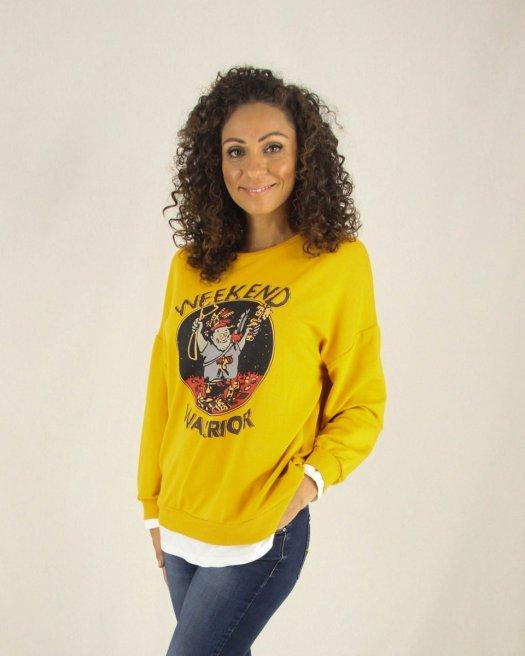 Weekend Baskılı Hardal Sarı Sweatshirt
