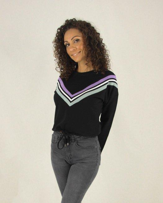 Triko Detaylı Siyah Kısa Sweatshirt