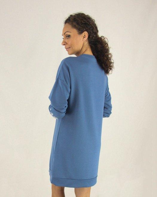 Uzun Kollu Baskılı Mavi Tunik