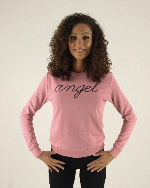 Angel Baskılı Gülkurusu Sweatshirt