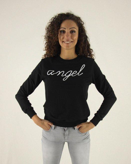 Angel Baskılı Siyah Sweatshirt
