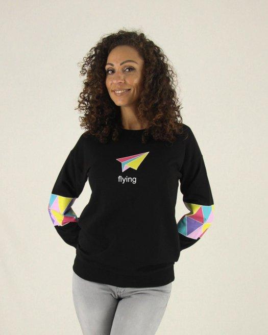 Flying Baskılı Siyah Sweatshirt