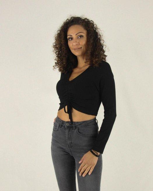 Büzgülü Uzun Kollu Kaşkorse Siyah Crop Bluz