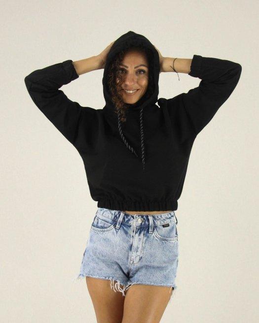 Kapşonlu Siyah Kısa Basic Sweatshirt