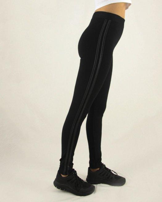 Yanı Deri Şerit Detaylı Uzun Kalın Siyah Tayt