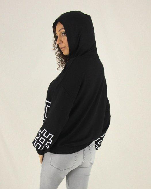 Baskılı Kapşonlu Kadın Siyah Sweatshirt