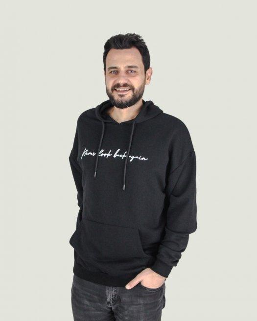 Baskılı Kapşonlu Oversize Siyah Sweatshirt Unisex