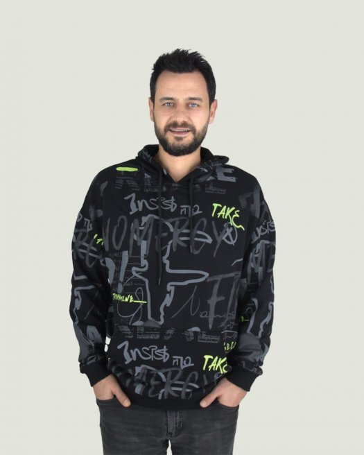 Baskılı Kapşonlu Siyah Unisex Sweatshirt Oversize