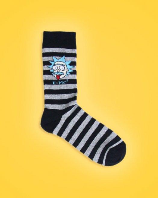 Emc2 Siyah Gri Çizgili Soket Çorap