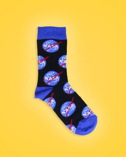 Nasa Logolu Siyah Soket Çorap