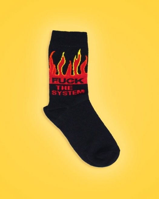 Alev Desenli Siyah Soket Çorap