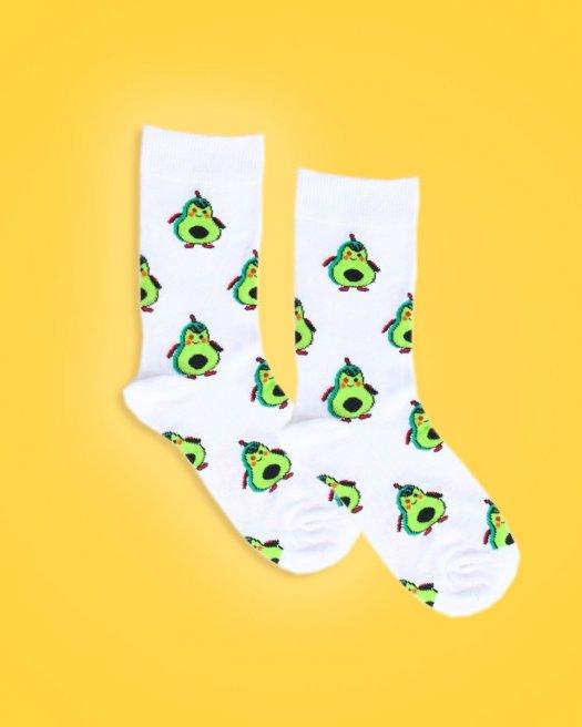 Avokado Desenli Beyaz Soket Çorap