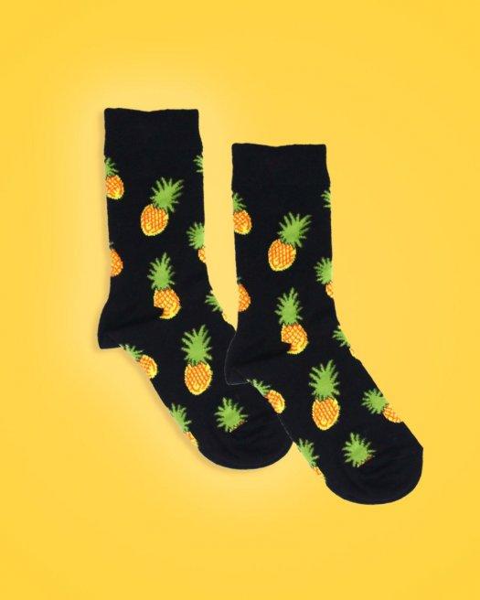 Ananas Desenli Siyah Soket Çorap